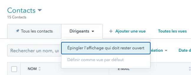 épingler affichage filtre de contacts Hubspot